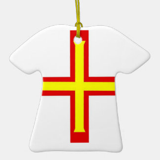 Guernsey Flag Double-Sided T-Shirt Ceramic Christmas Ornament