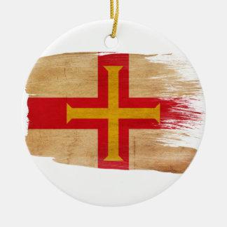 Guernsey Flag Round Ceramic Decoration
