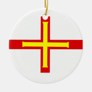 Guernsey Flag Double-Sided Ceramic Round Christmas Ornament