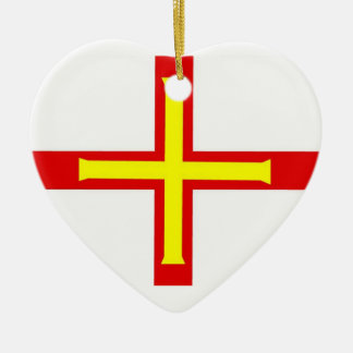 Guernsey Flag Double-Sided Heart Ceramic Christmas Ornament