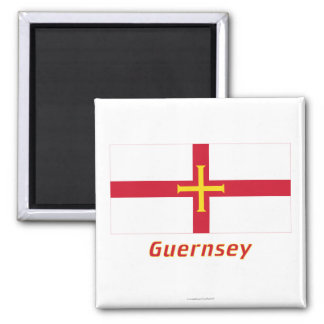 Guernsey Flag with Name Square Magnet