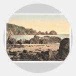 Guernsey, Moulin Huet Bay, I, Channel Islands, Eng Round Sticker
