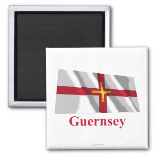 Guernsey Waving Flag with Name Square Magnet