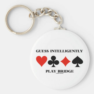 Guess Intelligently Play Bridge (Four Card Suits) Basic Round Button Key Ring