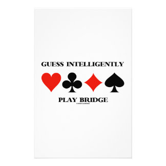 Guess Intelligently Play Bridge (Four Card Suits) Stationery Design