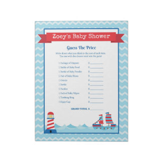Guess The Price Nautical Theme Baby Shower Notepad