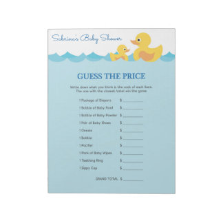 Guess The Price Rubber Duck Baby Shower Game Notepad