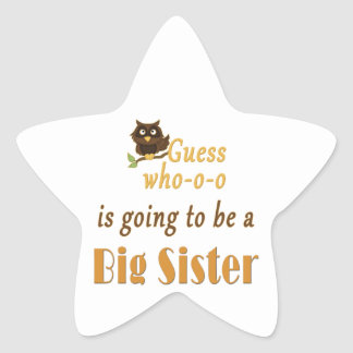 Guess Who Big Sister Owl Brown Star Sticker