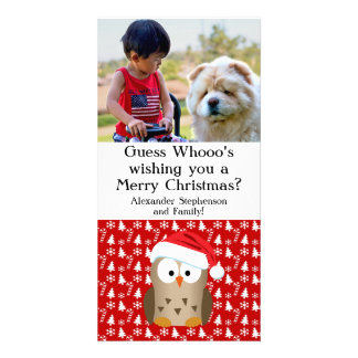 Guess Whoo Christmas Owl with Santa Hat Photo Cards