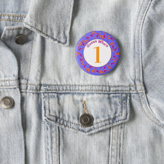 Guess Who's...Birthday Buttons (Purple and Orange)