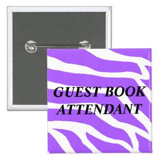 Guest Book Attendant Wedding Button
