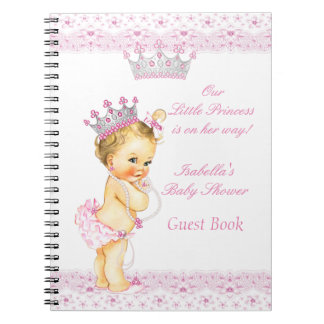 Guest Book Princess Baby Shower Pink White Blonde