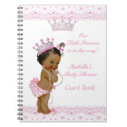 Guest Book Princess Baby Shower Pink White Ethnic