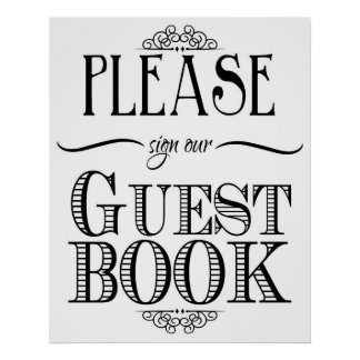 Guest book sign black and white print
