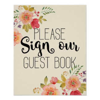 Guest book wedding floral wedding pink rose sign poster