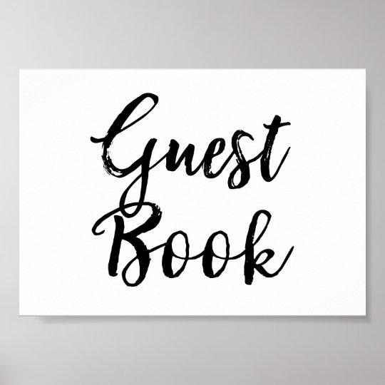Guest Book Wedding Sign Elegant Brushed Script