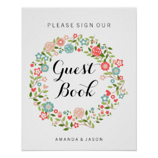 Guest Book wedding sign | Floral | bothanical Poster
