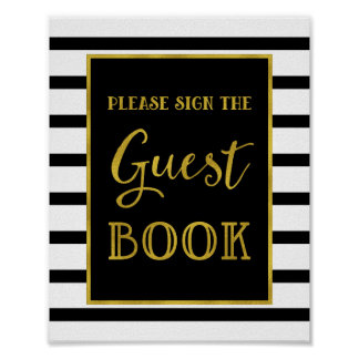 Guest Book Wedding Sign Gold Black Stripes Poster