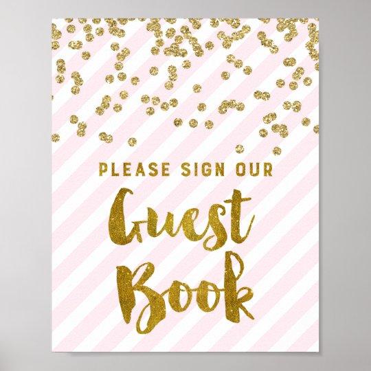 Guest Book Wedding Sign Pink Gold Stripes