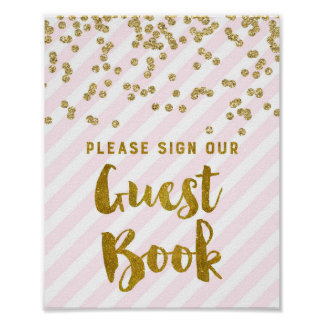 Guest Book Wedding Sign Pink Gold Stripes Poster