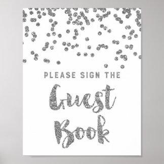 Guest Book Wedding Sign Silver Confetti Poster