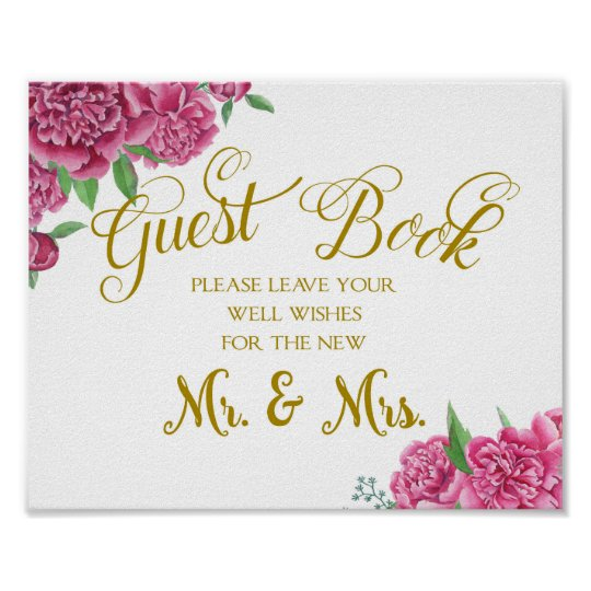 Guest book well wishes wedding sign peony rose