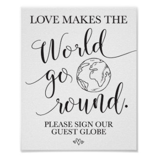 Guest Globe Wedding Table Sign