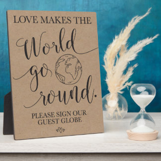 Guest Globe Wedding Table Sign Plaque