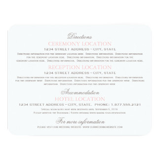 "Guest Information Cards | Blush Pink and Gray 4.25"" X 5.5"" Invitation Card"