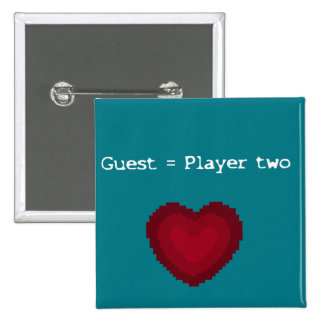 Guest = Player Two 15 Cm Square Badge