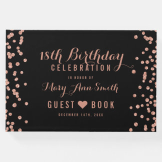 GuestBook 18th Birthday Rose Gold Glitter Confetti