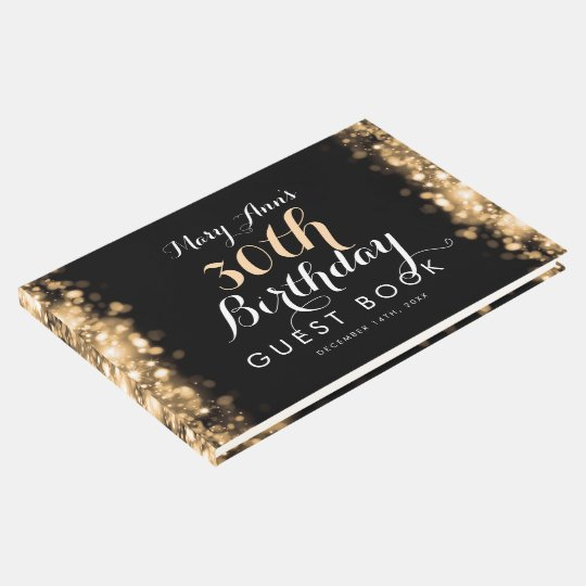 Guestbook 30th Birthday Gold Sparkling Lights