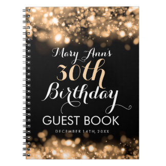 Guestbook 30th Birthday Gold Sparkling Lights Notebook