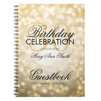 Guestbook 30th Birthday Party Gold Glitter Light Spiral Note Books