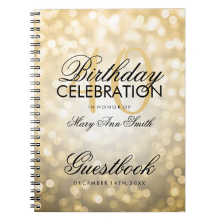 Guestbook 40th Birthday Party Gold Glitter Light Notebooks