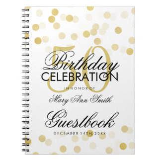 Guestbook 50th Birthday Gold Foil Glitter Lights Notebook