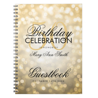 Guestbook 50th Birthday Party Gold Glitter Light Notebooks