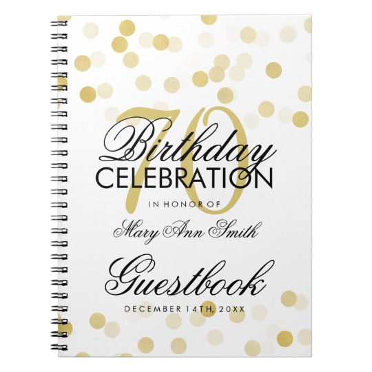 Guestbook 70th Birthday Gold Foil Glitter Lights Spiral