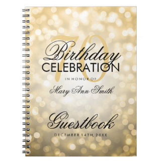 Guestbook 70th Birthday Party Gold Glitter Light Spiral Notebook