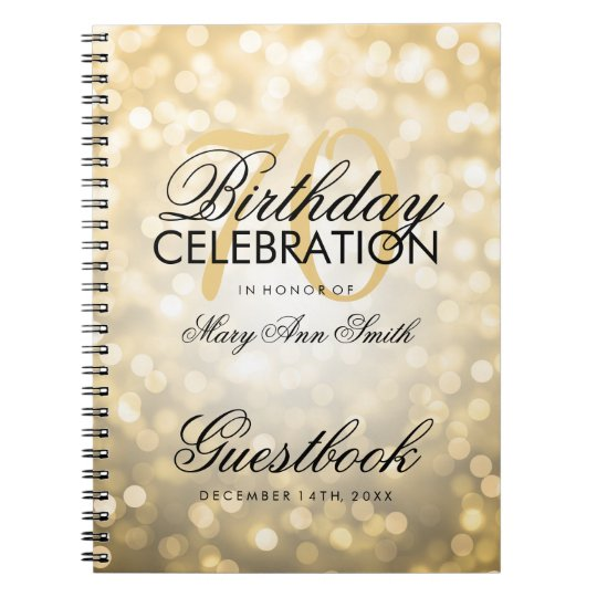 Guestbook 70th Birthday Party Gold Glitter Light Spiral