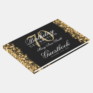 Guestbook 70th Birthday Party Sparkles Gold