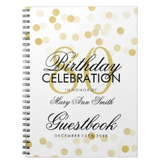 Guestbook 80th Birthday Gold Foil Glitter Lights Notebook