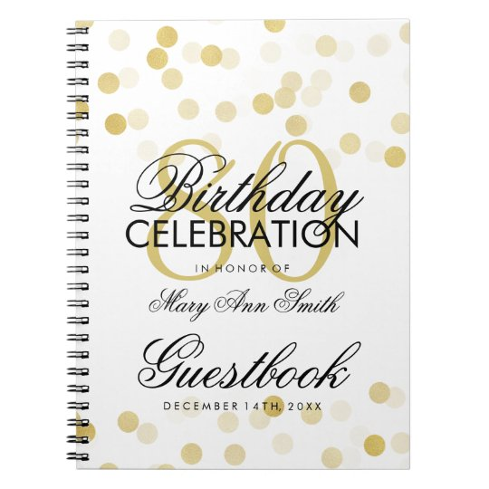 Guestbook 80th Birthday Gold Foil Glitter Lights Notebooks