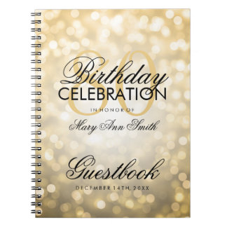 Guestbook 80th Birthday Party Gold Glitter Light Spiral Notebook