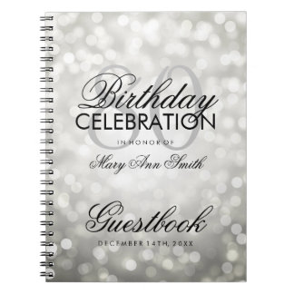 Guestbook 80th Birthday Party Silver Glitter Light Notebooks