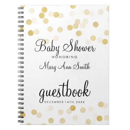 Guestbook Baby Shower Gold Foil Glitter Lights Spiral Notebook