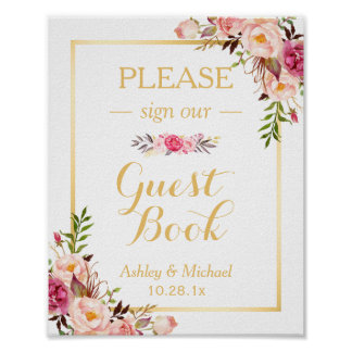 Guestbook Wedding Sign | Elegant Chic Floral Gold Poster