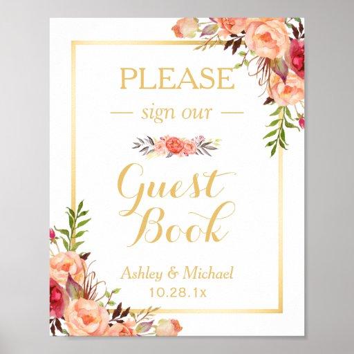 Guestbook Wedding Sign   Rustic Gold Orange Floral