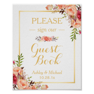 Guestbook Wedding Sign | Rustic Gold Orange Floral Poster