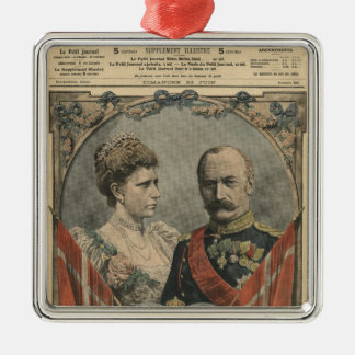 Guests of France, King Frederick VIII  and Queen Silver-Colored Square Decoration